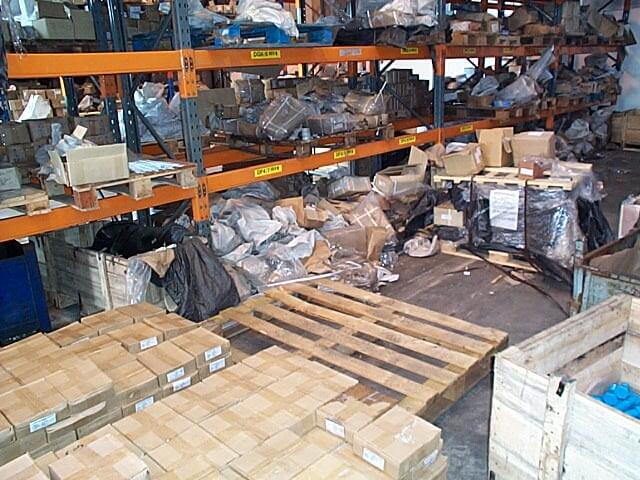 Warehouse with stock on the floor