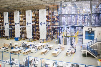 birdseye view of a large factory warehouse