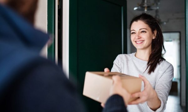a woman receiving her package