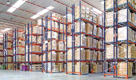 Lines of Boxes On a Pallet Racking Systems